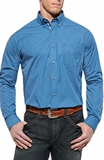 Ariat Mens Balman Long Sleeve Performance Western Shirt - Deep Sea