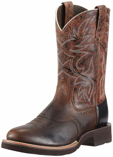 Ariat Mens Heritage Crepe Round Toe Cowboy Boots - Oiled Rowdy / Dark Brown