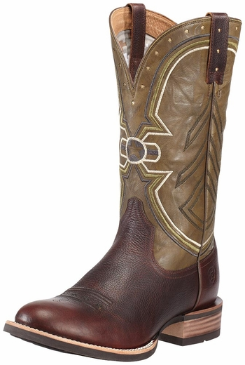 Ariat Mens Freedom Round Toe Boots - Red River Brown / Green (Closeout)