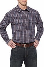 Ariat Mens Drake Long Sleeve Snap Western Shirt - Purple (Closeout)
