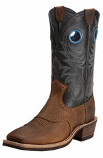 Ariat® Mens Heritage Roughstock Wide Square Toe Cowboy Boots - Earth/Vintage Black