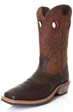"Ariat Mens Heritage Roughstock 12"" Wide Square Toe Cowboy Boots - Brown Oiled Rowdy"