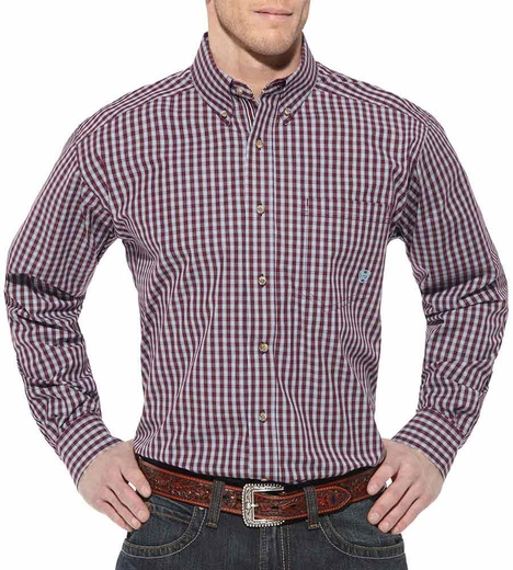 Ariat Mens Keeley Long Sleeve Performance Button Down Western Shirt - Mulled Wine (Closeout)