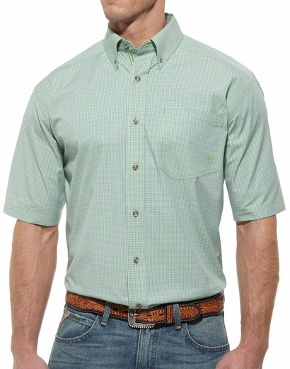 Ariat Mens Klamath Short Sleeve Performance Button Down Western Shirt - Lime Green (Closeout)