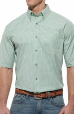 Ariat Mens Klamath Short Sleeve Performance Button Down Western Shirt - Lime Green