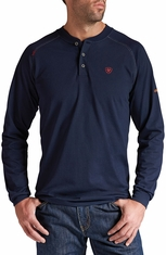 Ariat Mens Long Sleeve Fire Resistant Henley Work Shirt - Navy
