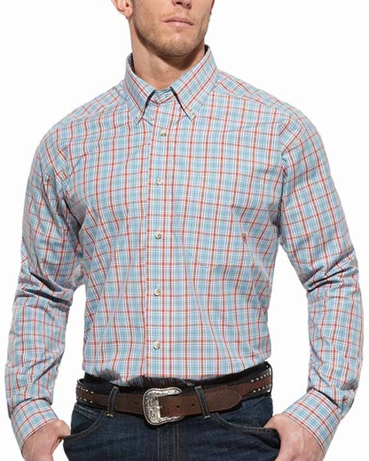 Ariat Mens Long Sleeve Jeremy Plaid Button Down Western Shirt - Blue/Orange