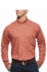 Ariat Mens Long Sleeve Keswick Print Button Down Western Shirt - Orange (Closeout)