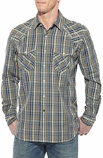 Ariat Mens Long Sleeve Knife Edge Plaid Snap Western Shirt
