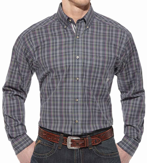 Ariat Mens Oaks Long Sleeve Performance Button Down Western Shirt - Slate (Closeout)