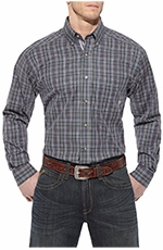 Ariat Mens Oaks Long Sleeve Performance Button Down Western Shirt - Slate