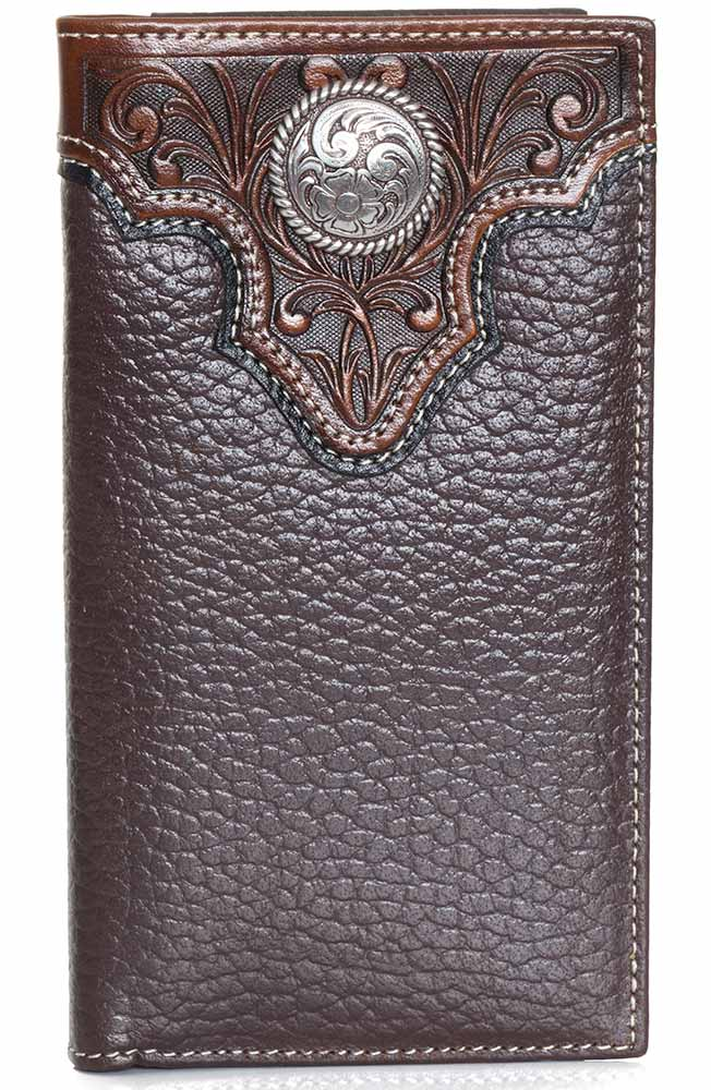 Ariat Mens Overlay Concho Rodeo Wallet Brown