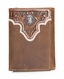 Ariat Mens Overlay Concho Tri Fold Wallet - Light Brown