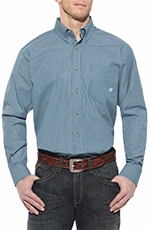 Ariat Mens Pismo Long Sleeve Performance Button Down Western Shirt - Blue Bamboo