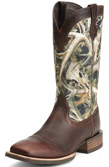 Ariat Mens Quickdraw Square Toe Cowboy Boots - Brown/Bonz