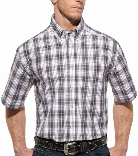 Ariat Mens Roland Plaid Short Sleeve Western Button Down Shirt - White