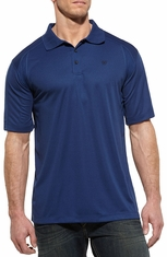 Ariat Mens Short Sleeve AC Polo Shirt - Estate Blue (Closeout)
