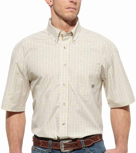 Ariat Mens Short Sleeve Maddox Plaid Button Down Western Shirt - Pistachio (Closeout)