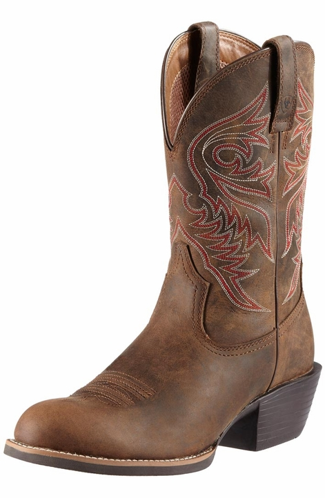 Ariat Mens Sport Brumby Cowboy Boots -  Distressed Brown (Closeout)