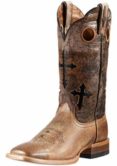 Ariat Mens Square Toe Ranchero Boot - Quicksand/Black Eclipse (Closeout)