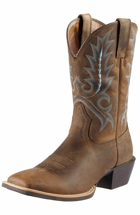 Ariat Mens Square Toe Sport Outfitter Boots - Distressed Brown