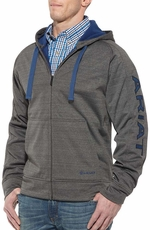 Ariat Mens Tek Bonded Logo Fleece Zip Up Hoodie - Charcoal