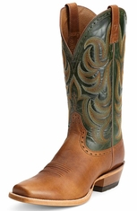Ariat Mens Turnback Cowboy Boots - Caliche/Neon Lime (Closeout)