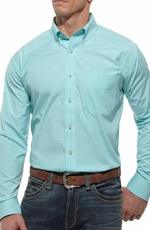 Ariat Mens Tyler Long Sleeve Performance Button Down Western Shirt - Blue