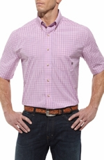 Ariat Mens Vance Short Sleeve Performance Button Down Western Shirt - Pink (Closeout)