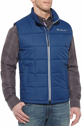 Ariat Mens Crius Zip Front Vest - Estate Blue (Closeout)
