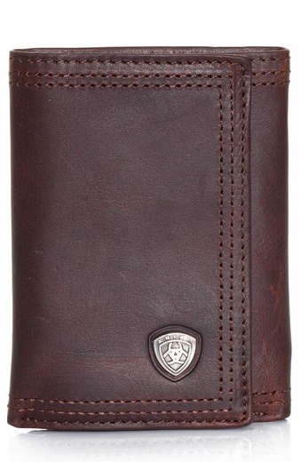 Ariat Mens Small Shield Tri Fold Wallet - Dark Copper