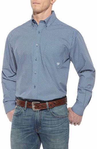 Ariat Mens Baker Long Sleeve Button Down Western Shirt - Boston Bluesox (Closeout)