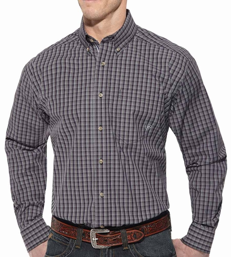 Ariat Mens Brea Long Sleeve Button Down Western Shirt - Purple (Closeout)