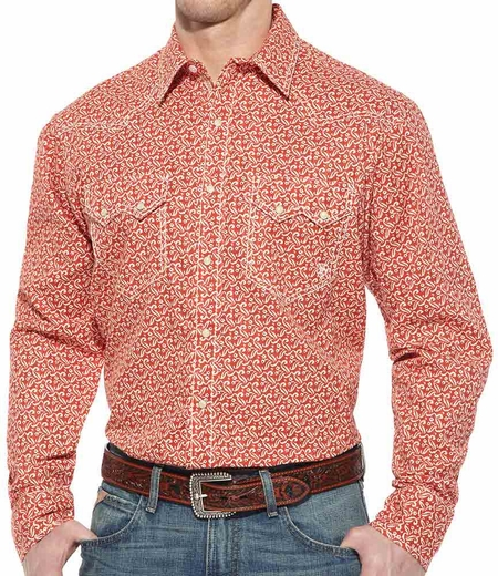 Ariat Mens Bruno Long Sleeve Snap Western Shirt - North Fire