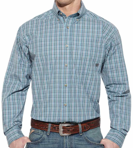 Ariat Mens Kinley Long Sleeve Performance Button Down Western Shirt - Creekside (Closeout)