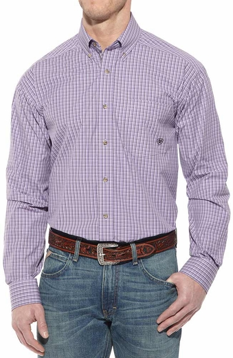 Ariat Mens Newman Long Sleeve Performance Button Down Western Shirt - Thistle (Closeout)