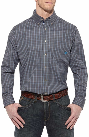Ariat Mens Teca Long Sleeve Performance Button Down Western Shirt - Bracken Grey (Closeout)