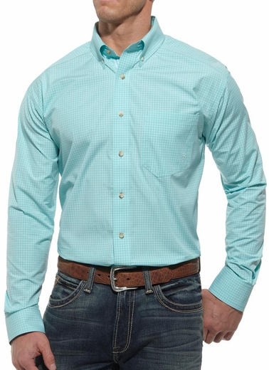 Ariat Mens Tyler Long Sleeve Performance Button Down Western Shirt - Blue (Closeout)