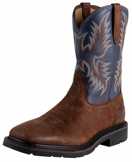 Ariat Mens Sierra Wide Square Toe Work Boots - Brown Russet/Blue