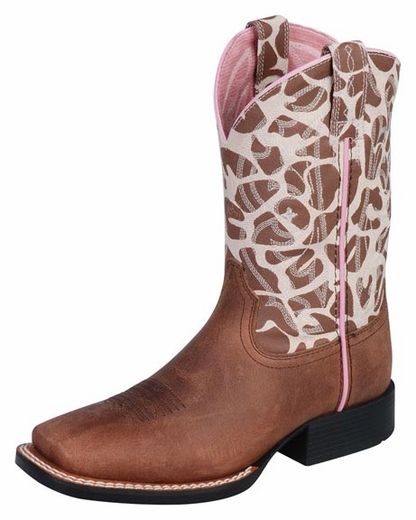 Ariat Quickdraw Kids Boots - Brown/Giraffe Print