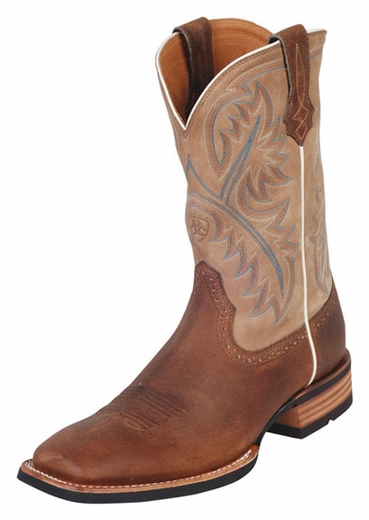 Ariat® Men's Western Performance Boots Quickdraw - Tumbled Bark/Beige