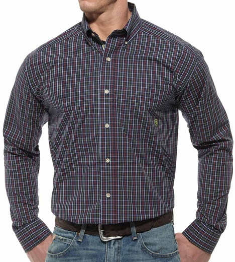 Ariat® Mens Chats Long Sleeve Performance Button Down Shirt - Navy (Closeout)
