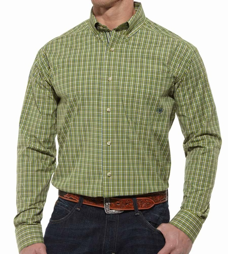 Ariat® Mens Lince Long Sleeve Performance Button Down Shirt - Mallard Green (Closeout)