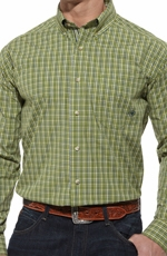 Ariat® Mens Lince Long Sleeve Performance Button Down Shirt - Mallard Green