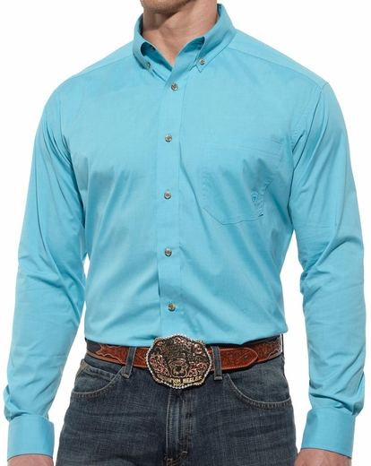 Ariat® Mens Long Sleeve Performance Button Down Poplin Shirt - Blue (Closeout)