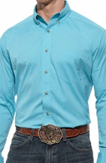 Ariat® Mens Long Sleeve Performance Button Down Poplin Shirt - Blue