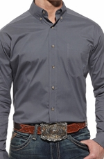 Ariat® Mens Long Sleeve Performance Button Down Poplin Shirt - Pearl Grey