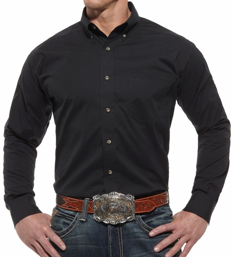 Ariat® Mens Long Sleeve Performance Poplin Button Down Shirt - Black (Closeout)