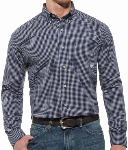 Ariat® Mens Rover Long Sleeve Performance Button Down Shirt - Navy (Closeout)