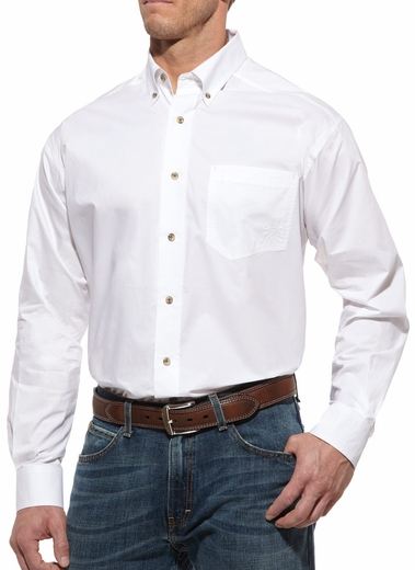 Ariat® Mens Solid Longsleeve Performance Poplin Button Down - White (Closeout)
